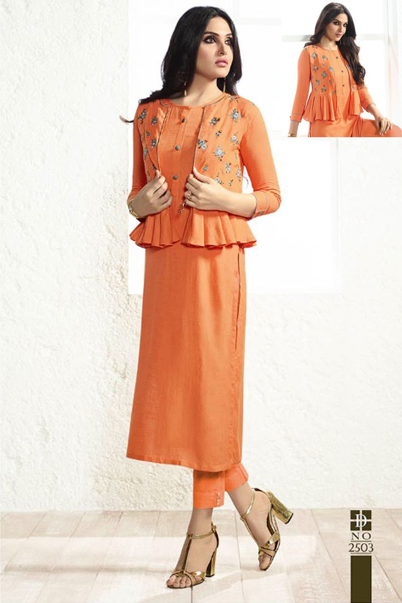 4bdf2d61bd Orange-Fancy-Koti-Style-Quater-Sleeves-Office-Wear-Cotton-Long-Kurti-In-Wholesale-2503-8494  #bulk #wholesale #wholesalesupplier #wholesaledealer ...