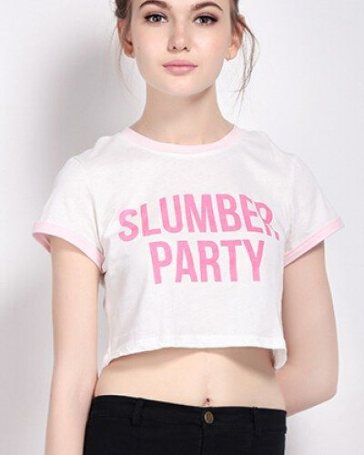 8e7b245633640 Slumber Party t shirt for girls white crop tops short style