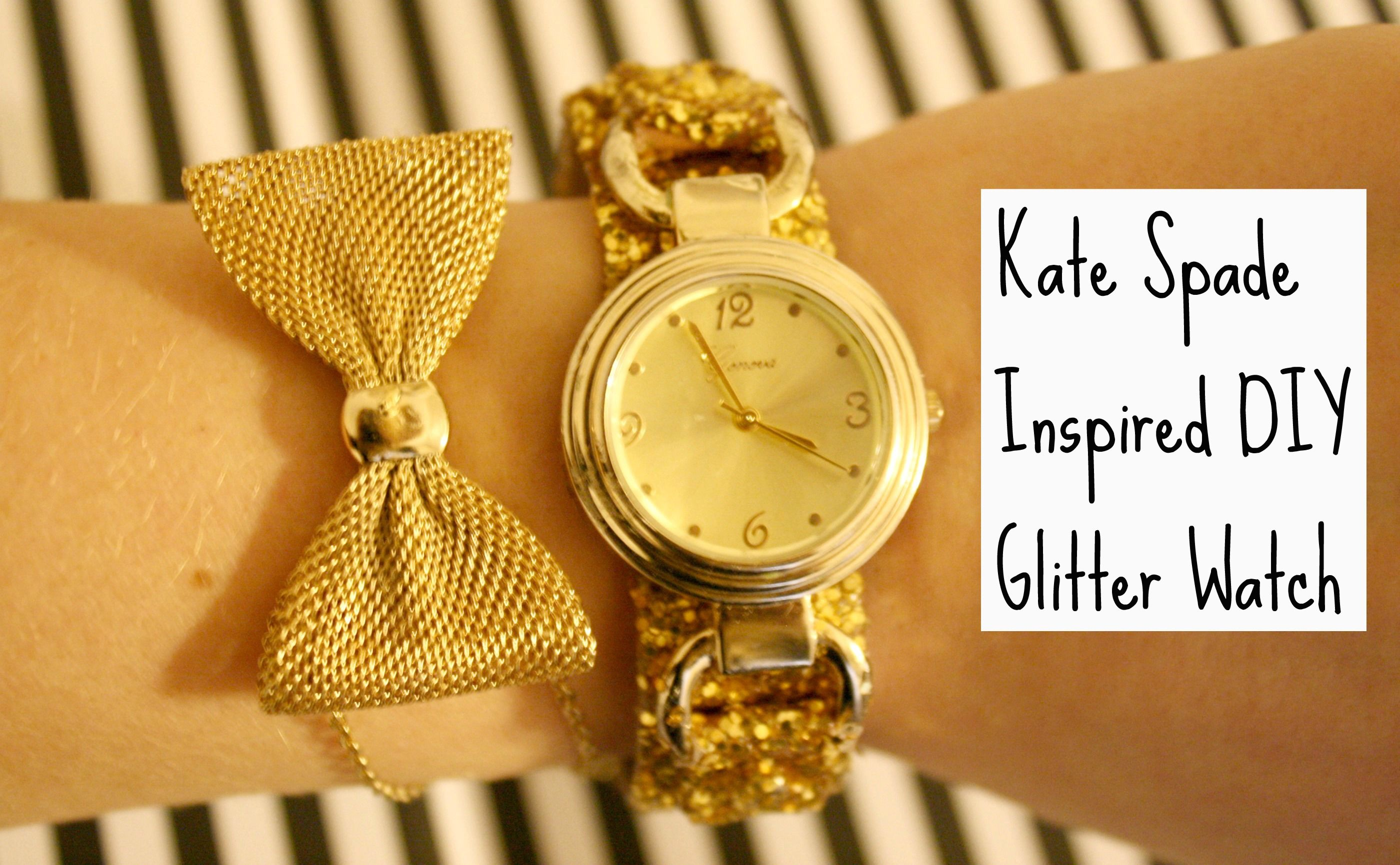 thedailysugar.blogspot.com watch, kate spade, kate spade inspired, gold, glitter, sparkle, bow, bracelet, diy, arm candy, project, craft, the daily sugar, blog, fashion, fashion blog, fashion blogger, style, blogger style, glam, top shop