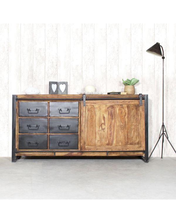 Buffet industriel porte coulissante bois naturel, 6 tiroirs métal