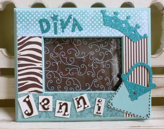Diva 5x7 Picture Frame Zebra Print Girly Princess By Dippitydaisy