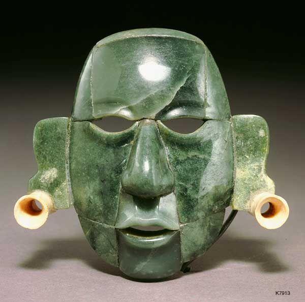 Maya. Jade. approximate. 15 cm. Mosaic belt mask. height