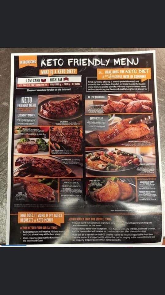 Longhorn keto menu