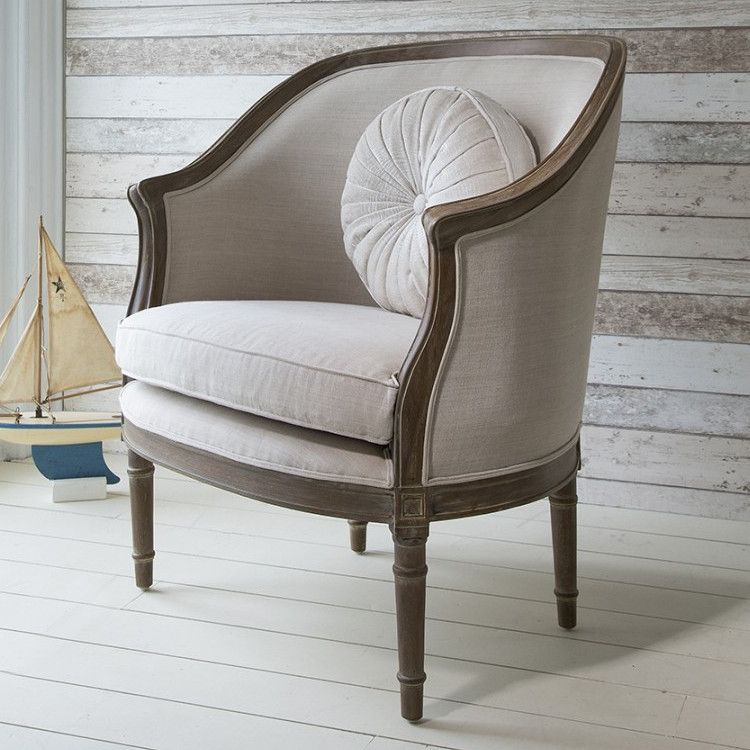 French Styled Maison Tub Chair - Light Linen | Tub chair, French ...