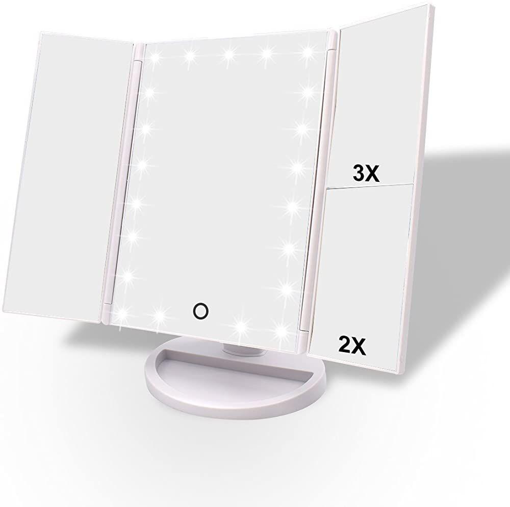 Weily 3 Seiten Kosmetikspiegel Mit 21 Led Beleuchtungen 1x 2x 3x