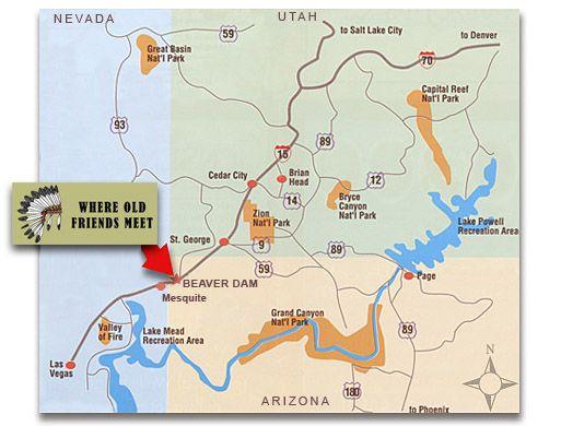 Map Of Arizona Rv Parks.Location Map For Chief Sleep Easy Rv Park In Beaver Dam Arizona Rv