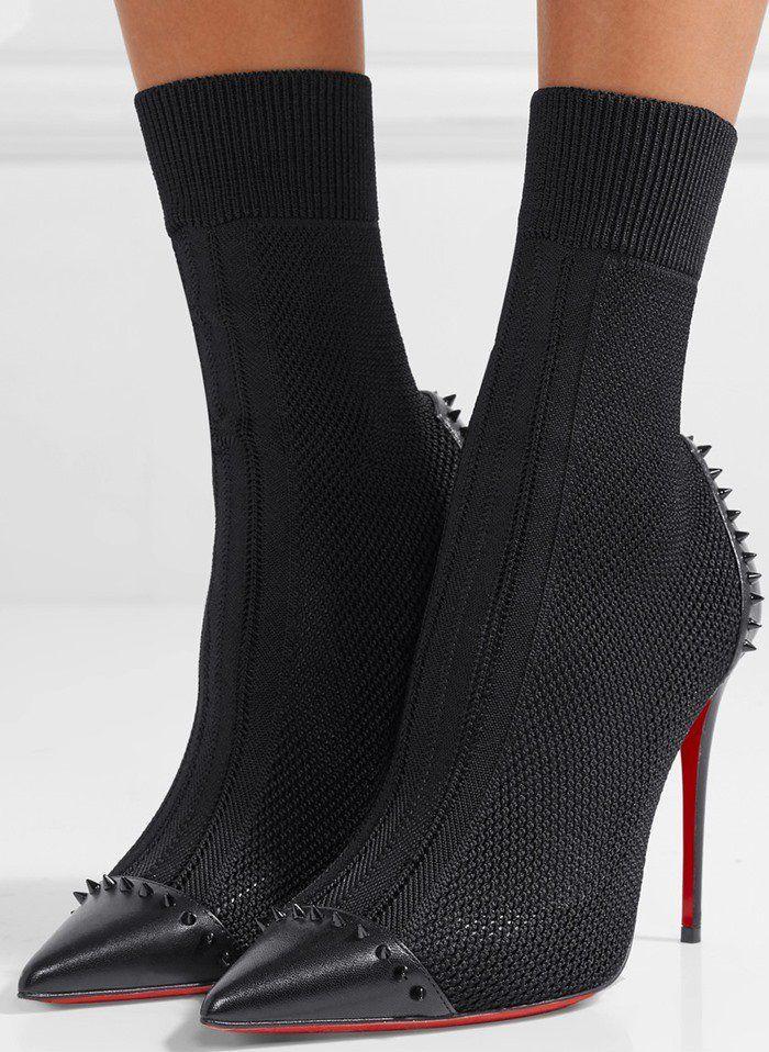 2095e6b60d2 Christian Louboutin Dovi Dova 100 studded leather-trimmed stretch-knit sock  boots