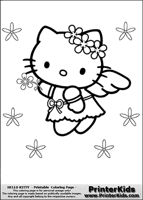 Hello Kitty Flying Angel With Flowers Coloring Page Preview Hello Kitty Colouring Pages Kitty Coloring Hello Kitty Coloring