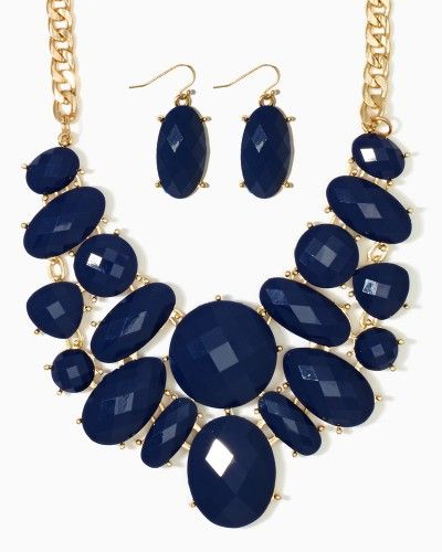 Shop fashion jewelry. Onyx, teal, pink, navy, peach statement bib necklace and earrings set. Chunky faceted round, oval gems..Free shipping on orders over $50.
