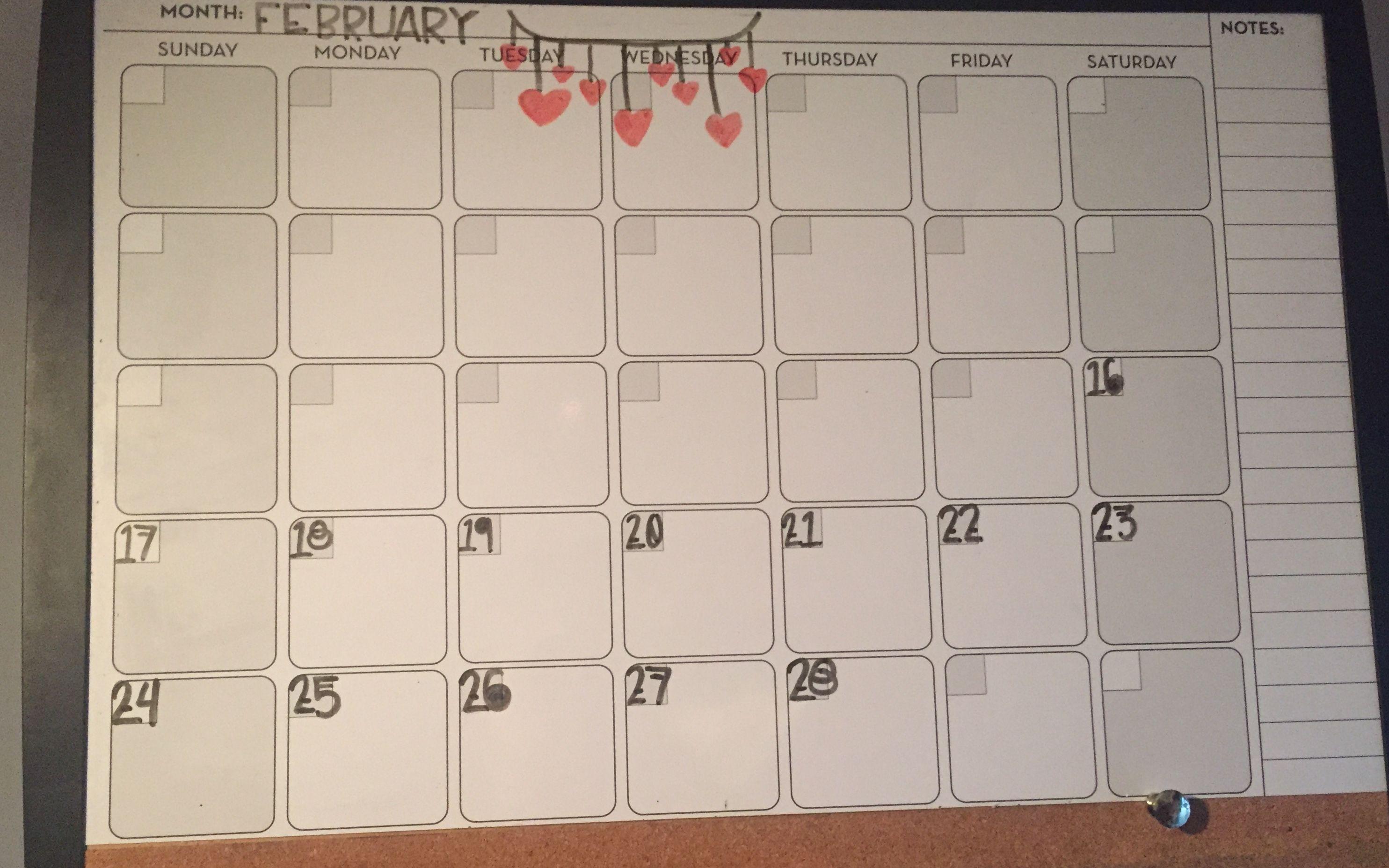 February Whiteboard Calendar Whiteboard Februarycalendar