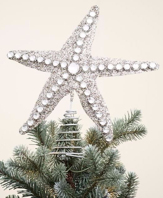 Beach Christmas Tree Topper: A Coastal Christmas Tree That Sparkles & Shines With Blue