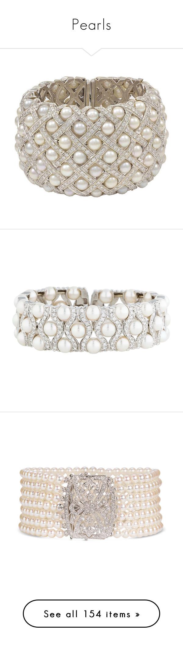 """Pearls"" by julia0331 ❤ liked on Polyvore featuring jewelry, bracelets, multiple, pearl jewellery, 18 karat gold jewelry, cuff bracelet, pearl jewelry, pearl cuff bracelet, nakit and cuff jewelry"