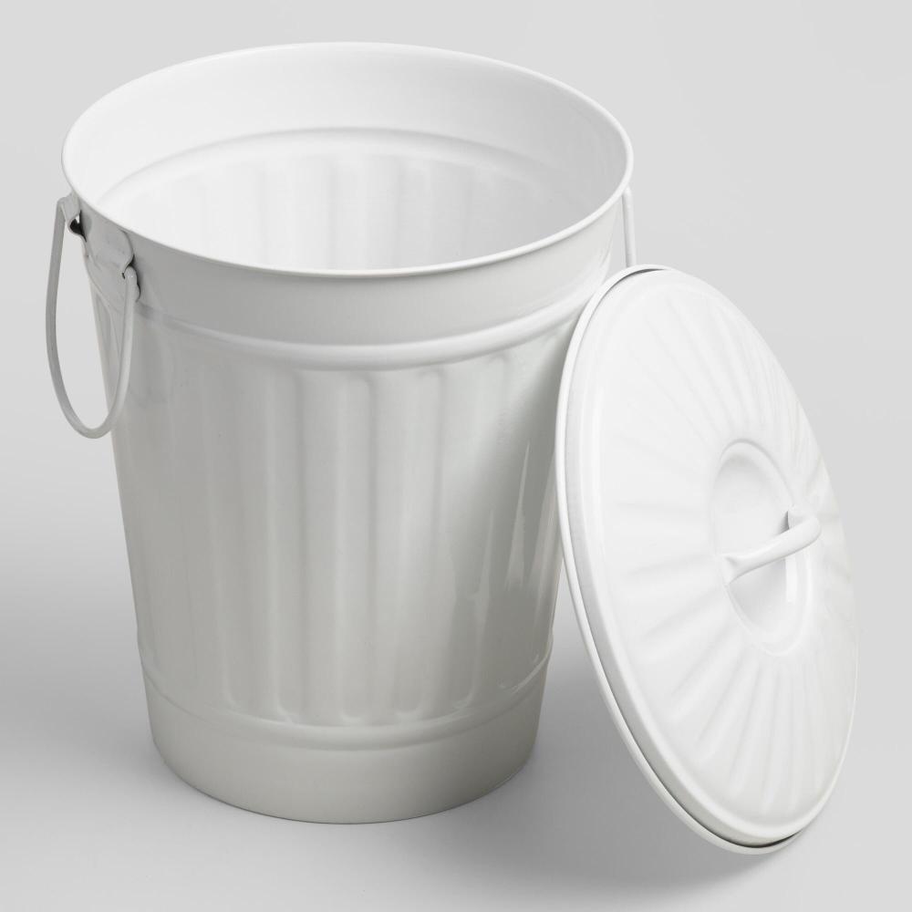 Matte White Retro Metal Trash Can World Market In 2020 Metal Trash Cans Bathroom Trash Can Trash Can