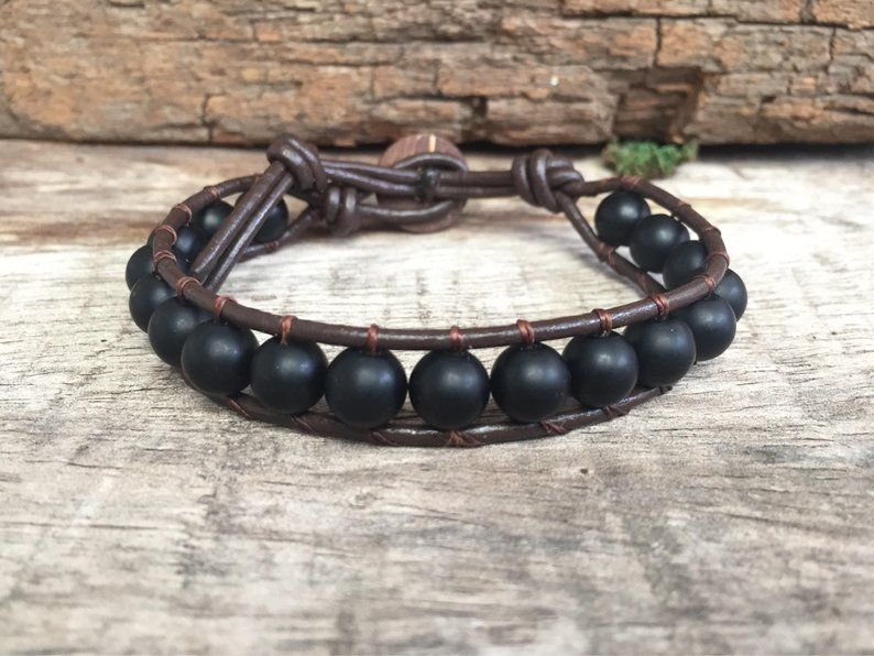 Black Onyx  Brown Leather Anklet