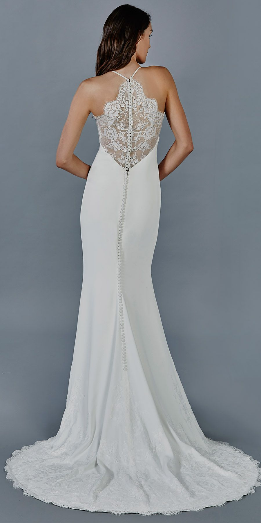 Aria wedding dress by kelly faetanini crepe slim gown with halter