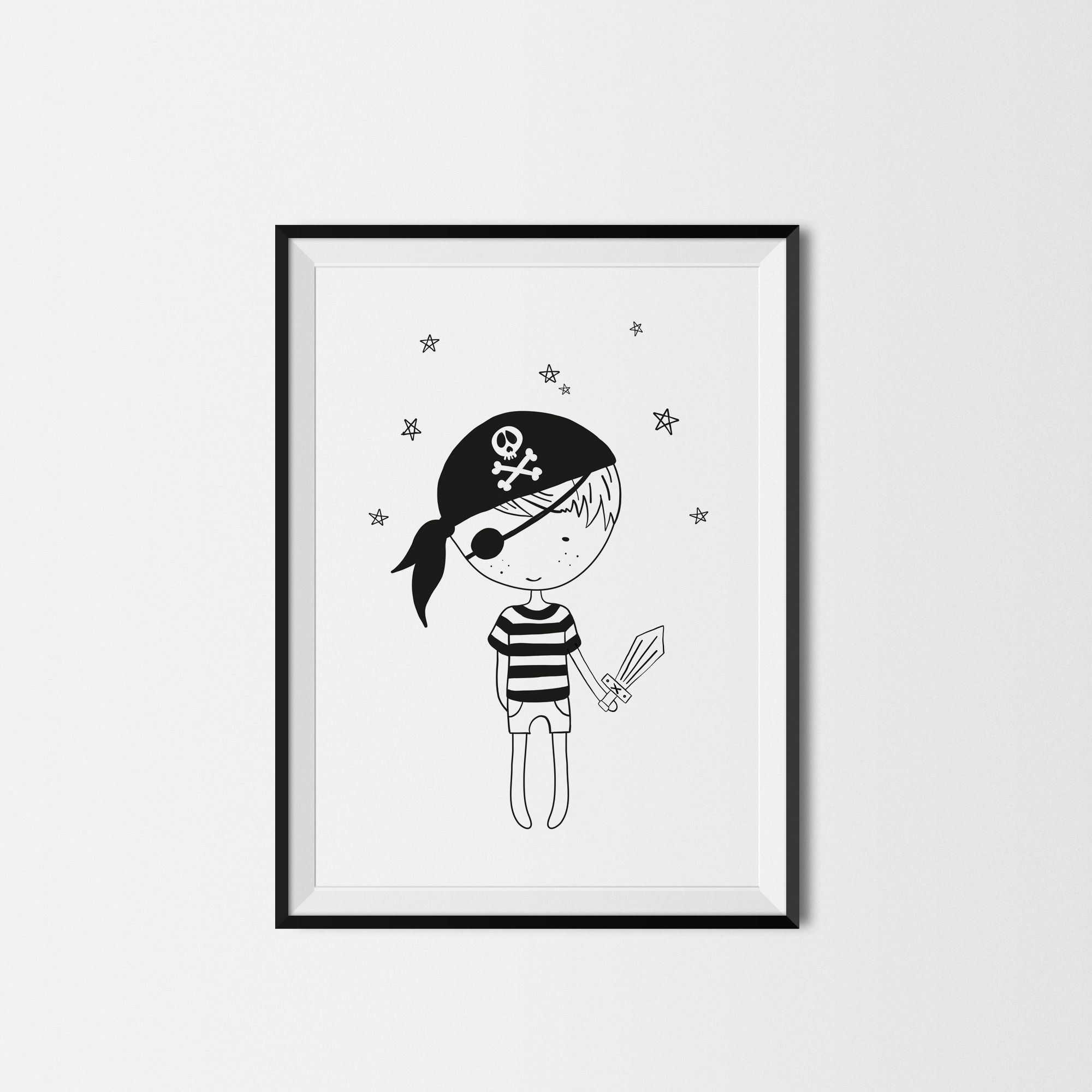 Pirate printed poster kids room wall decor monochrome print black white