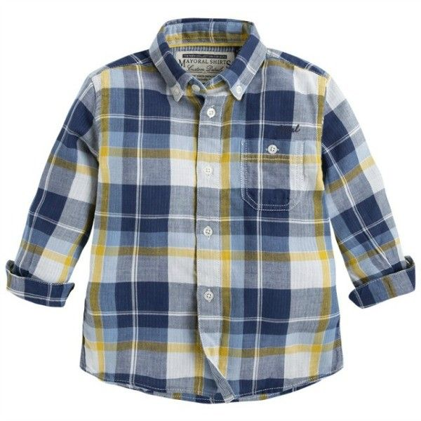 Button Tree Kids - Mayoral - Boys Blue & Yellow Plaid Button Down ...