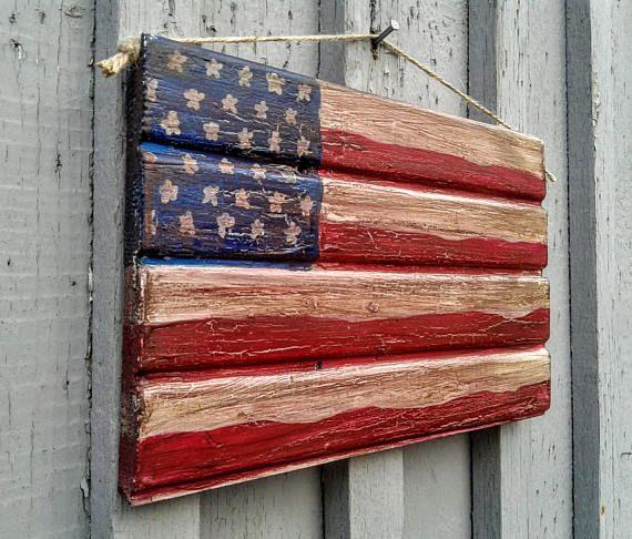 Americana Flag Patriotic Sign Wooden Flag Flag Sign Patriotic Sign Wooden Flag Wooden Signs