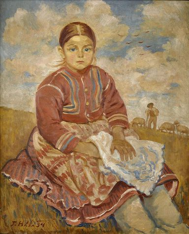 John Hall (1890-1959) Sitting girl (with sheep grazing in Važec). 1934. Oil on canvas