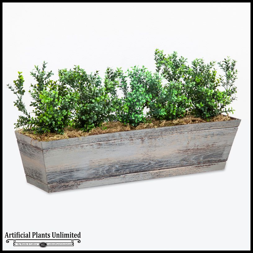 Small Year Round Veg Patch: Artificial Boxwood Bush Arrangements For Window Boxes (con