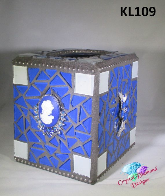 Blue and White Glass Tissue Box Cover for Bedroom or kitchen Handmade Mosaic Cover KL109