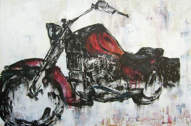 Another Midday Ride By Christina Loraine Motorcycle Art Painting Harley Davidson Wall Art Harley Davidson Painting