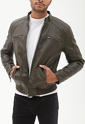 Faux Leather Biker Jacket   21 MEN - 2000068481