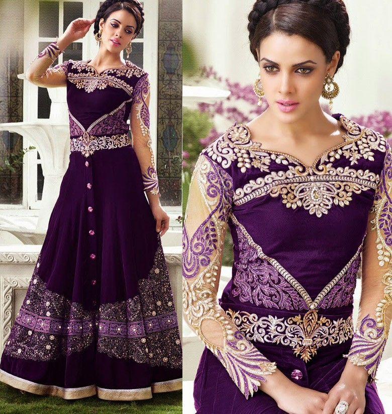 Wedding wear designer velvet anarkali shalvar kameez in Violet A15210