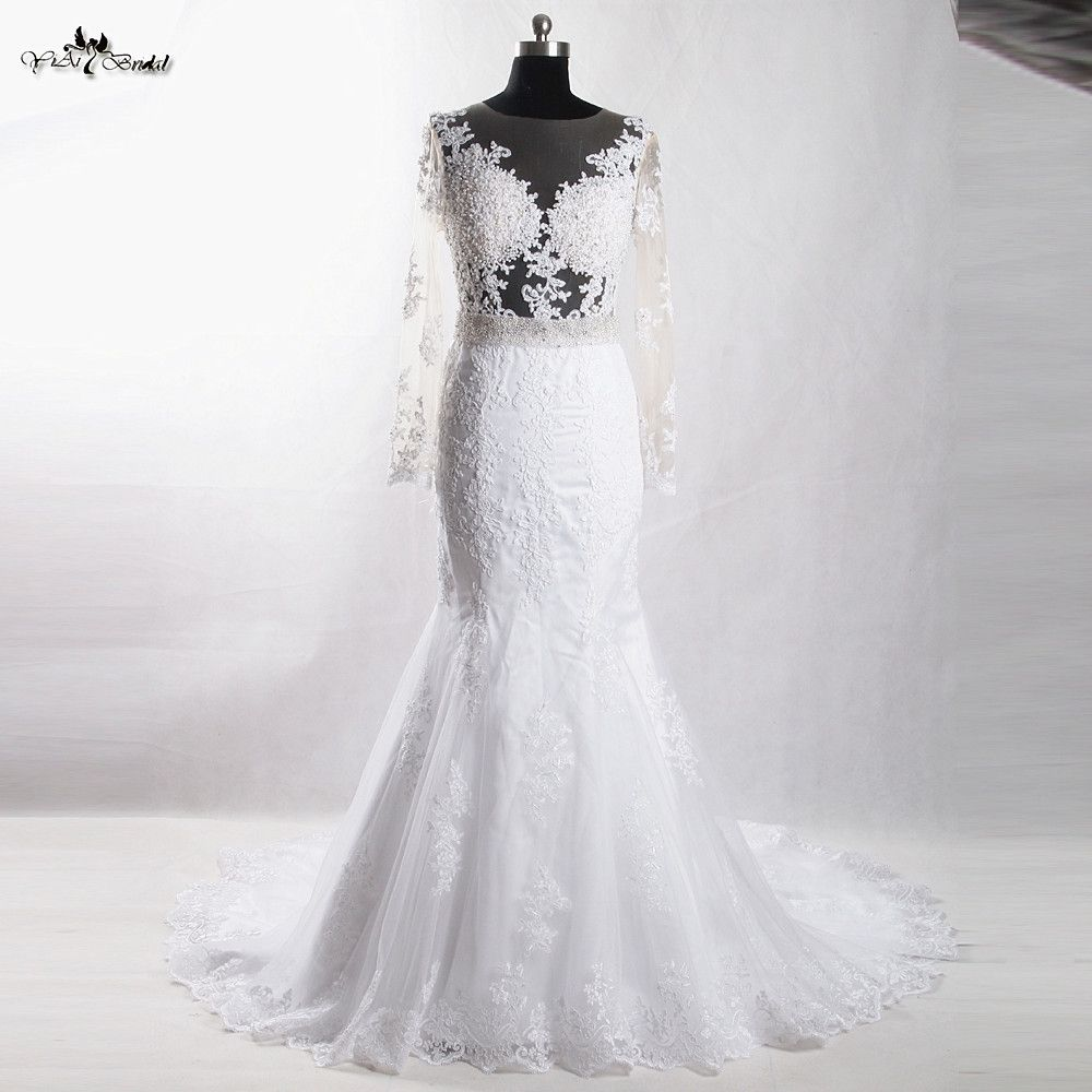 Rsw robe sexy mermaid wedding dress long sleeve backless lace