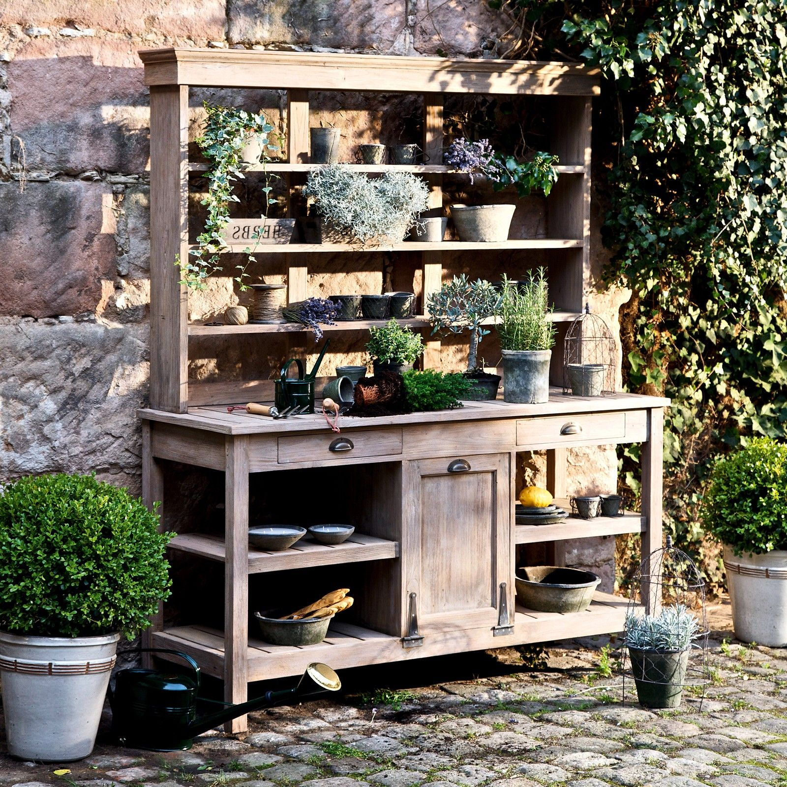 Old Teakholz Bank Gartenschrank Aus Teakholz Potting Bench Pinterest Garden