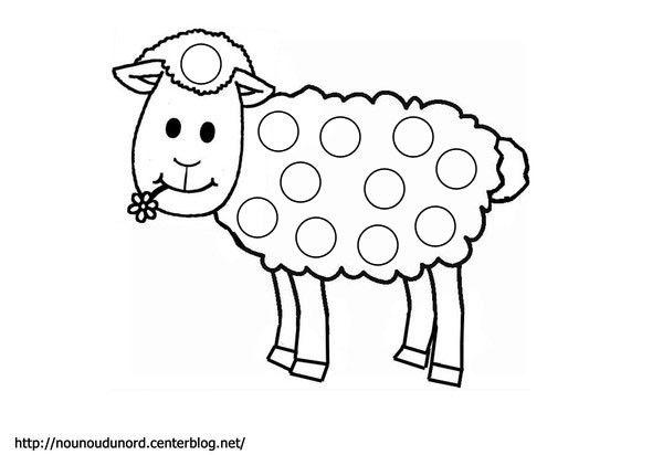 Mouton Coloriage Et Gommettes En Couleur Animal Crafts For Kids
