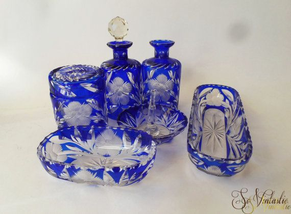 Old Bohemian Cut To Clear Cobalt Crystal Vanity Set Czech