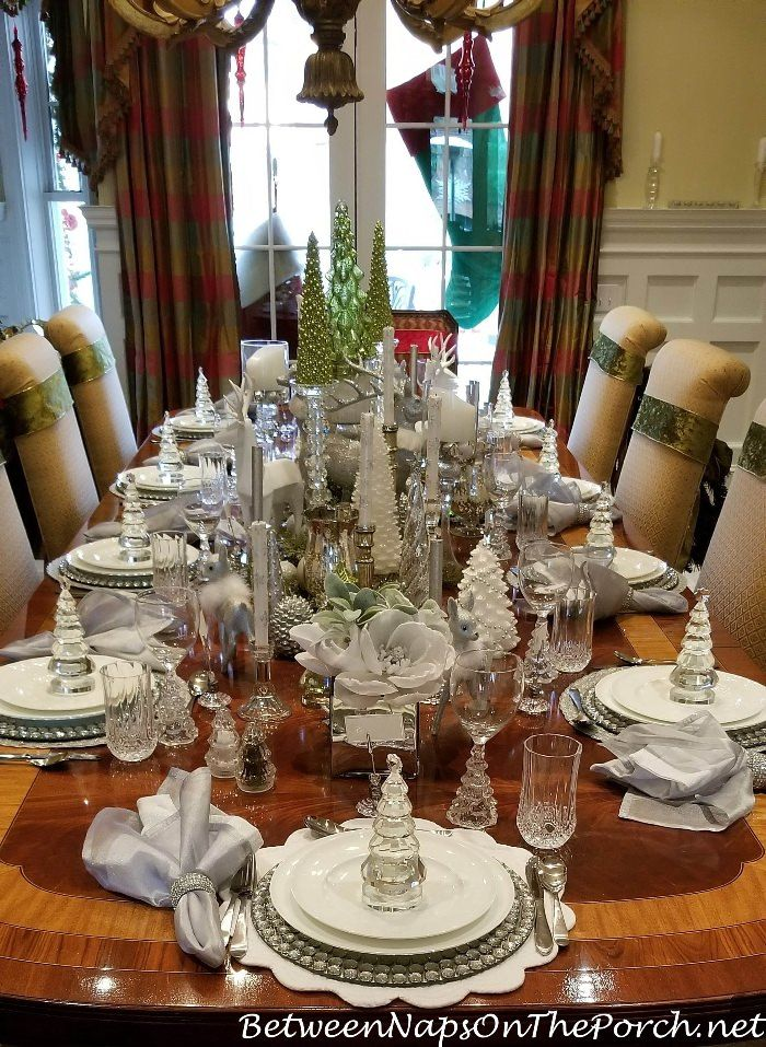elegant table settings. Green, White, Silver And Crystal For An Elegant Table Setting Settings