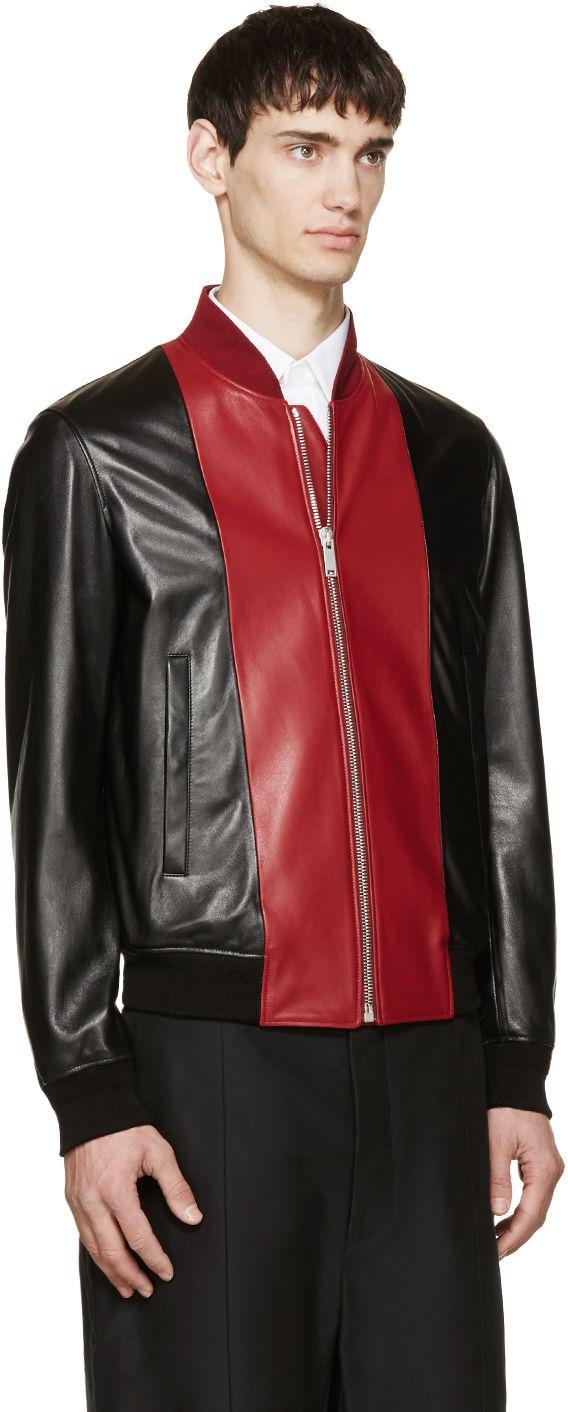 Alexander Mcqueen Black Red Leather Bomber Jacket Leather Bomber Jacket Leather Bomber Alexander Mcqueen Black [ 1412 x 568 Pixel ]