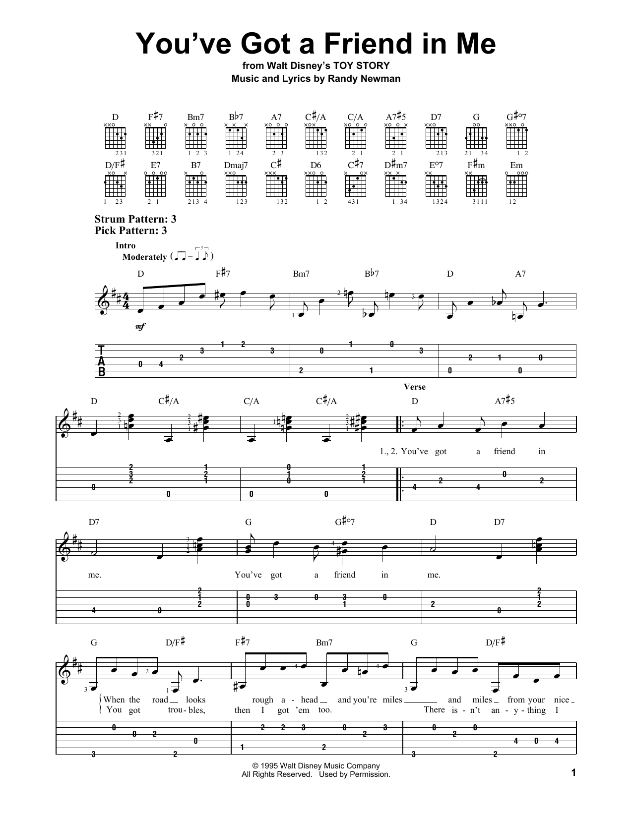 Youve Got A Friend In Me By Randy Newman Easy Guitar Tab Guitar Instructor