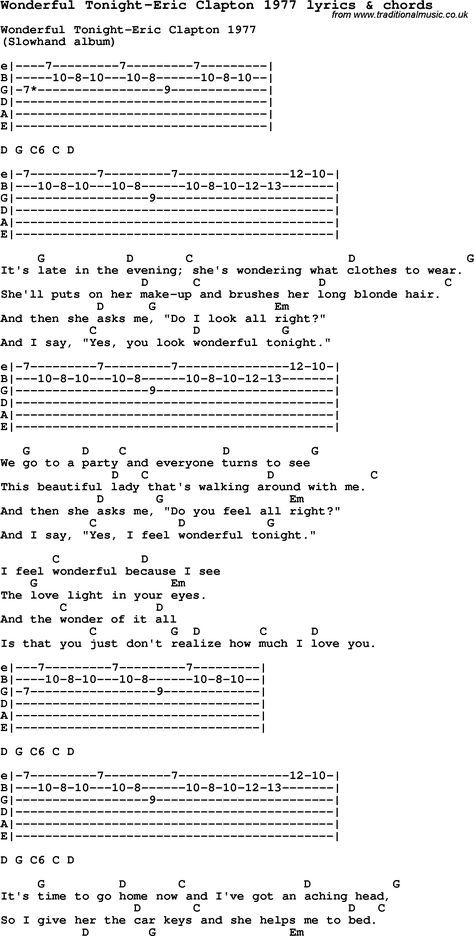 Love Song Lyrics For Wonderful Tonight Eric Clapton 1977 With