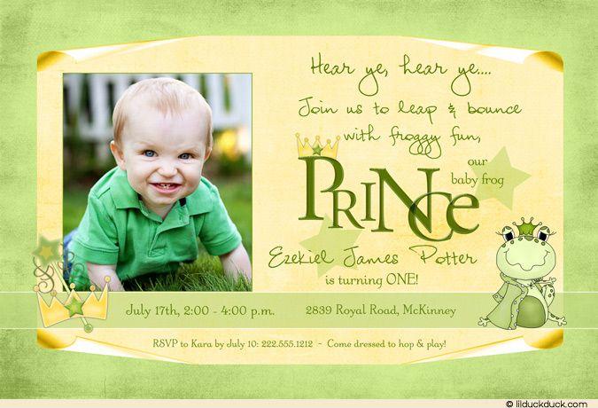 Frog prince birthday invitation 1st birthday boy photo olivers frog prince birthday invitation 1st birthday boy photo filmwisefo