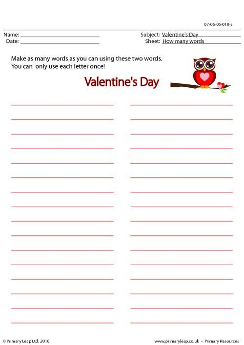 PrimaryLeap.co.uk - Valentine's Day - How many words? Worksheet ...
