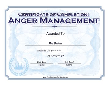Celebrate The Completion Of An Anger Management Course With This Blue Official Looking Certificate Free To Download And Print