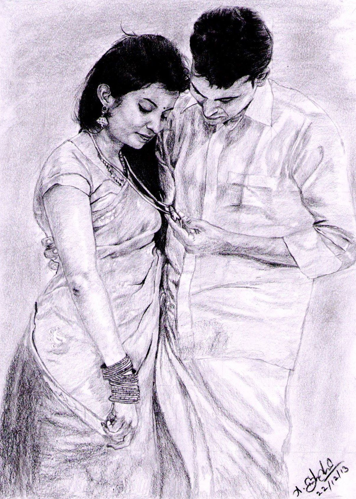 Indian traditional couples pencil work
