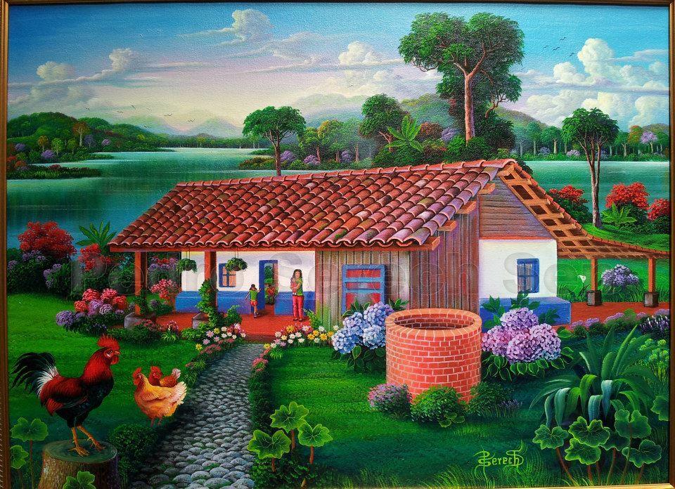 Painting casitas tipicas pinterest paisajes cuadro for Pinturas para casas de campo