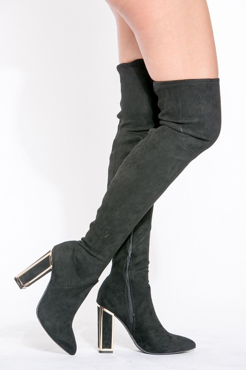 low price sale crazy price cheap for sale Black Faux Suede Chunky Thigh High boots #Ad #Suede, #AD, #Faux ...