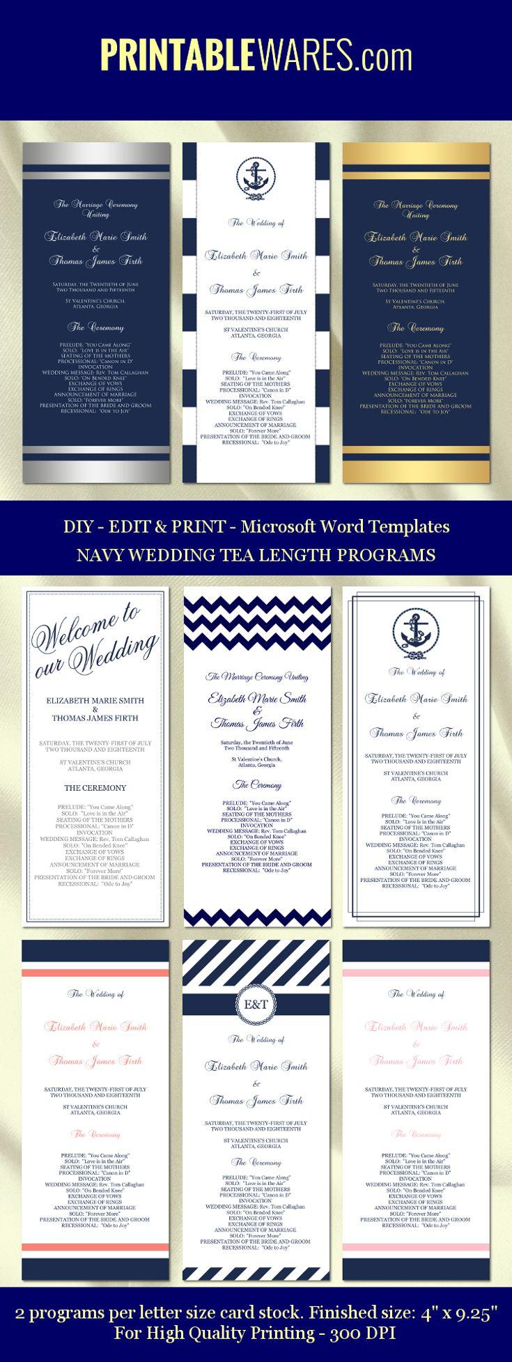 diy printable wedding program templates navy