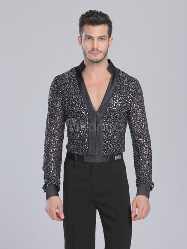 ecd0c564d36d Latin Dance Top Black Chic Spandex Trendy Dance Costume for Men -  Milanoo.com