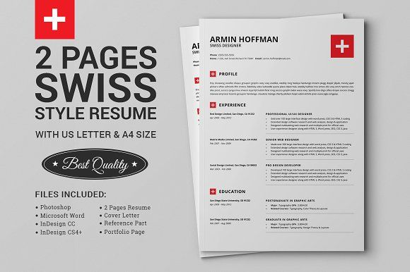 2 Pages Swiss Resume Extended Pack Pinterest Template, Design