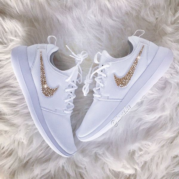 aa469487a1e2 Nike Roshe Two white pure platinum white With Gold Swarovski Xirius...  ( 165) ❤ liked on Polyvore featuring shoes