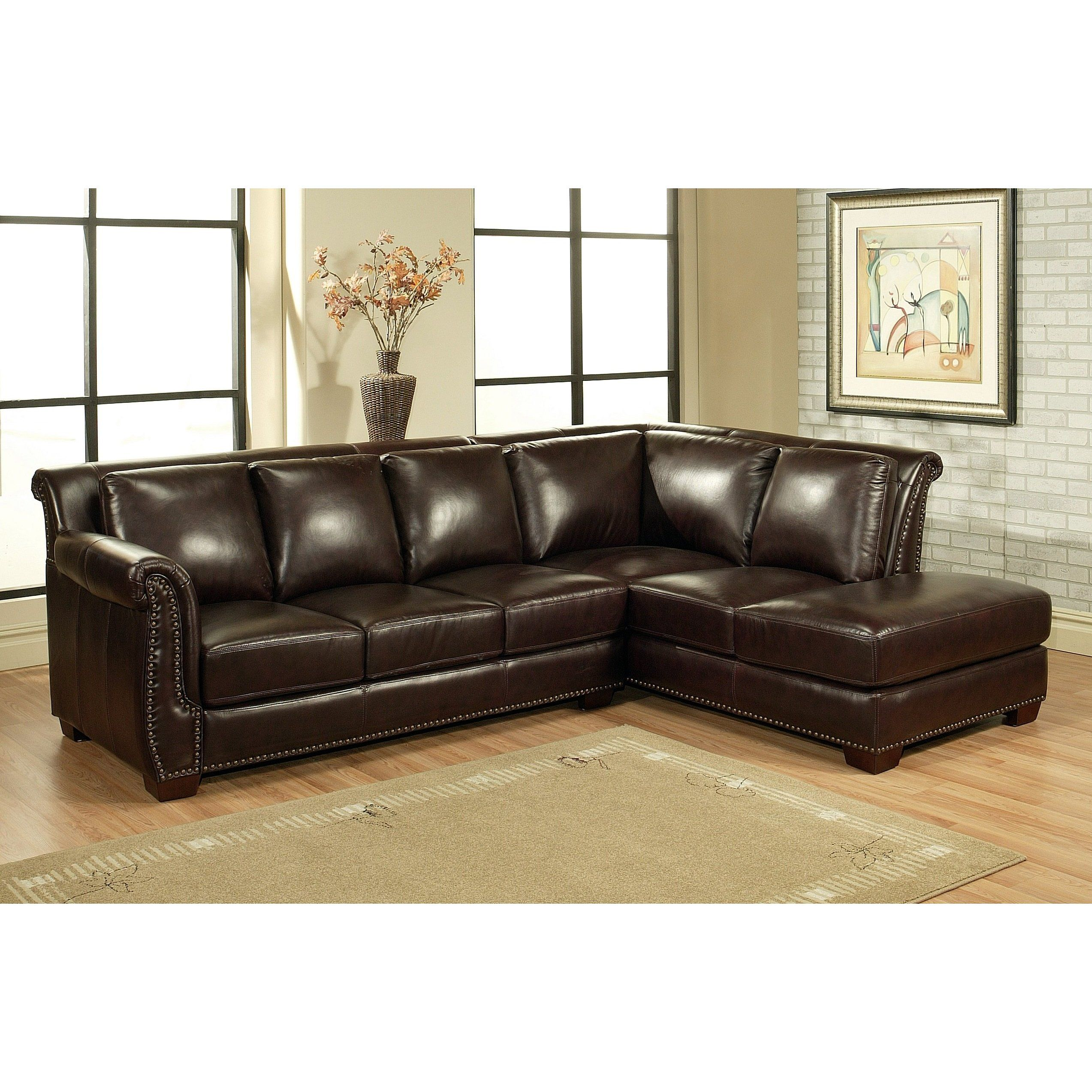 Marvelous Encore Burgundy Italian Leather Sectional Sofa With A Machost Co Dining Chair Design Ideas Machostcouk