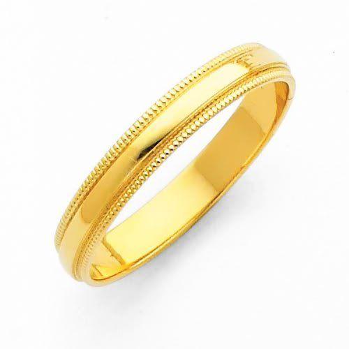 14k Yellow Gold 3mm Plain Milgrain Wedding Band Ring For Men Women Size 4 To 12 Goldenmine Milgrain Wedding Bands Wedding Ring Bands Classic Wedding Band
