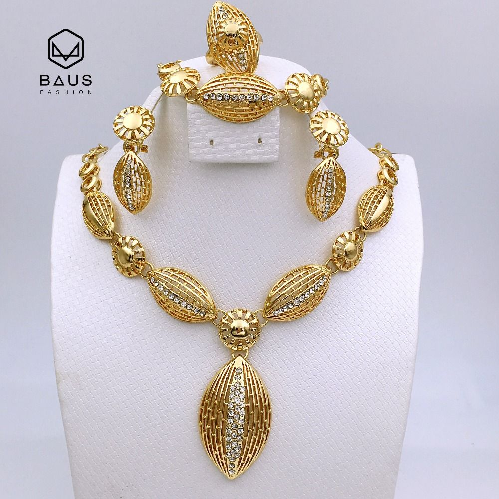 Oval Hallow Sunflower Rhinestone Stainless Steel Indian Habesha Arabic Ethiopian Nigerian Wedding African Bead Jewelry Set Gold Price 46 49 Free