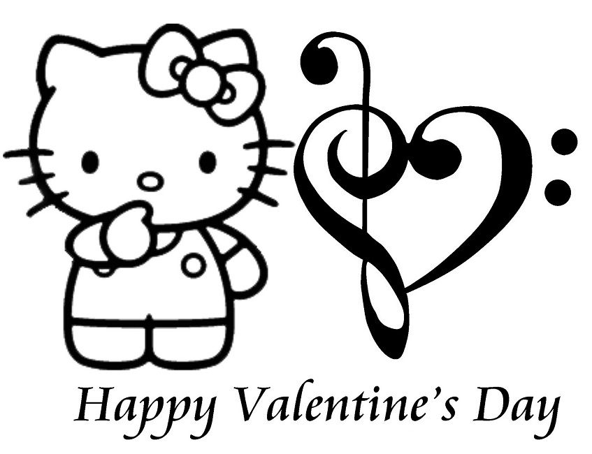 Hello Kitty Coloring Pages Valentines Day Hello Kitty Colouring